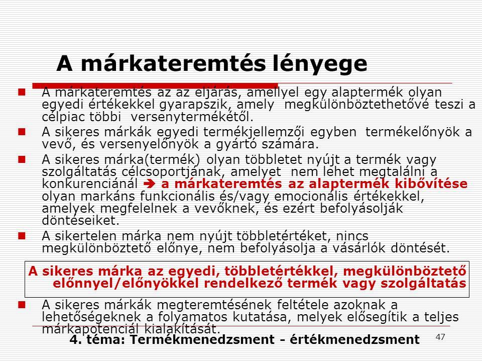 47 A márkateremtés lényege A márkateremtés az az eljárás, amellyel egy alaptermék olyan egyedi értékekkel gyarapszik, amely megkülönböztethetővé teszi a célpiac többi versenytermékétől.