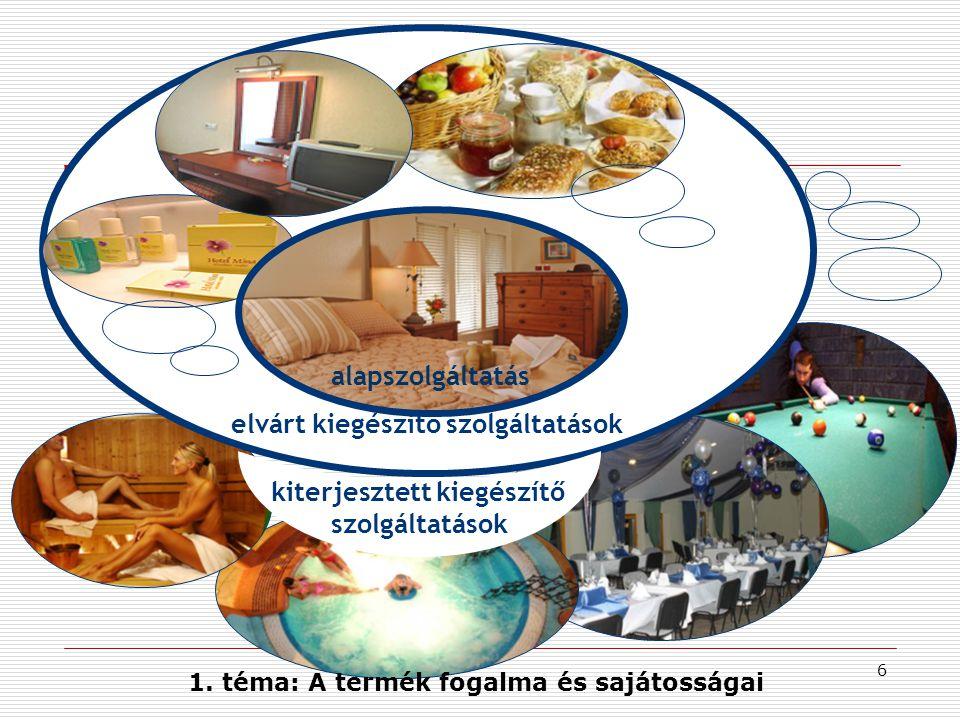 7 A szállodai szolgáltatástermék szintjei Elvárt szolgáltatások (aktuális, konkrét) - portaszolgálat - reggeli - televízió - szappan, törölköző - szobafoglalás Kiterjesztett, kiegészítő szolgáltatások - uszoda, konditerem - telefon, fax, Internet - szobaszolgálat - étterem, bár - parkoló, garázs - konferenciaterem - stb.