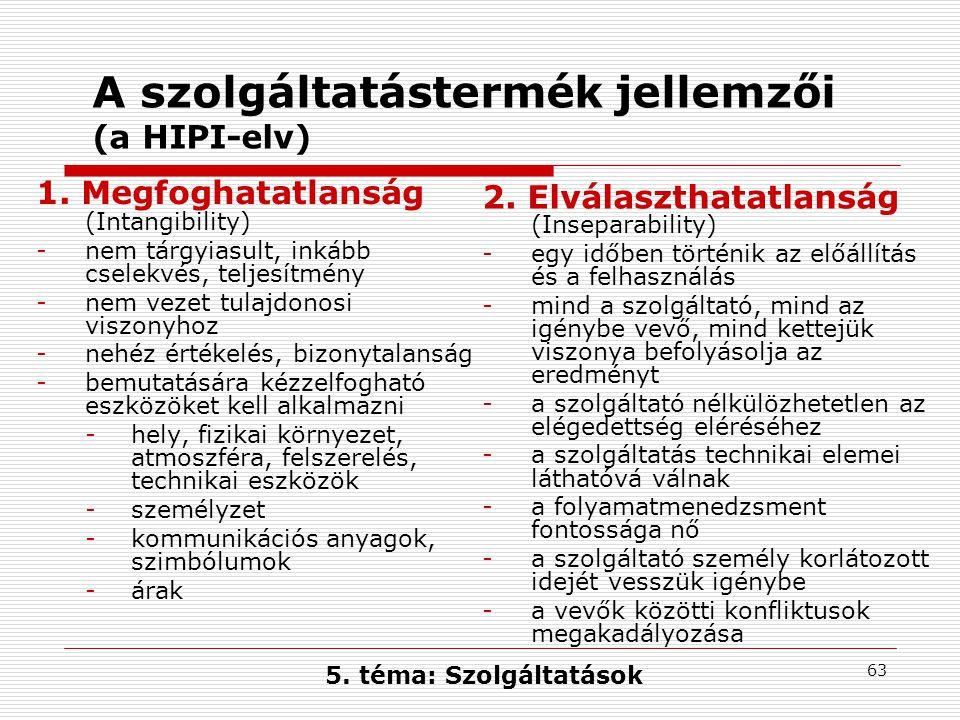 63 A szolgáltatástermék jellemzői (a HIPI-elv) 1.