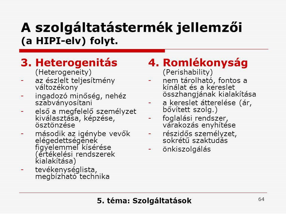 64 A szolgáltatástermék jellemzői (a HIPI-elv) folyt.