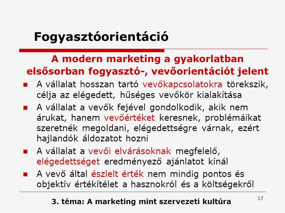 16 A marketing mint szervezeti kultúra Célpiac fogyasztóorientáció verseny- orientáció tágabb környezet orientáció Hosszú távú profit tevékenység koordináció 3.