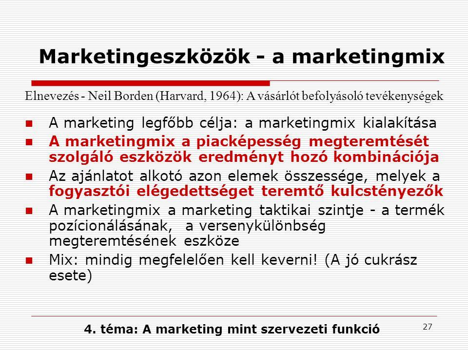 26 Marketingstratégiai döntések Pozícionálási stratégia Kinek szól a termék?Mit tud a termék.