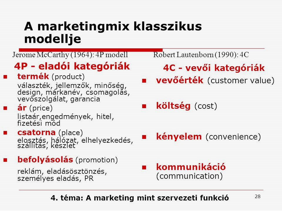 27 Marketingeszközök - a marketingmix A marketing legfőbb célja: a marketingmix kialakítása A marketingmix a piacképesség megteremtését szolgáló eszközök eredményt hozó kombinációja Az ajánlatot alkotó azon elemek összessége, melyek a fogyasztói elégedettséget teremtő kulcstényezők A marketingmix a marketing taktikai szintje - a termék pozícionálásának, a versenykülönbség megteremtésének eszköze Mix: mindig megfelelően kell keverni.