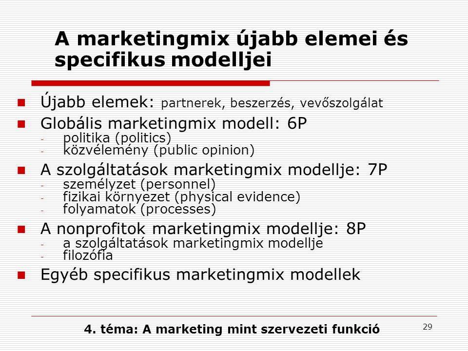 28 A marketingmix klasszikus modellje 4P - eladói kategóriák termék (product) választék, jellemzők, minőség, design, márkanév, csomagolás, vevőszolgálat, garancia ár (price) listaár,engedmények, hitel, fizetési mód csatorna (place) elosztás, hálózat, elhelyezkedés, szállítás, készlet befolyásolás (promotion) reklám, eladásösztönzés, személyes eladás, PR 4C - vevői kategóriák vevőérték (customer value) költség (cost) kényelem (convenience) kommunikáció (communication) Jerome McCarthy (1964): 4P modell Robert Lautenborn (1990): 4C 4.