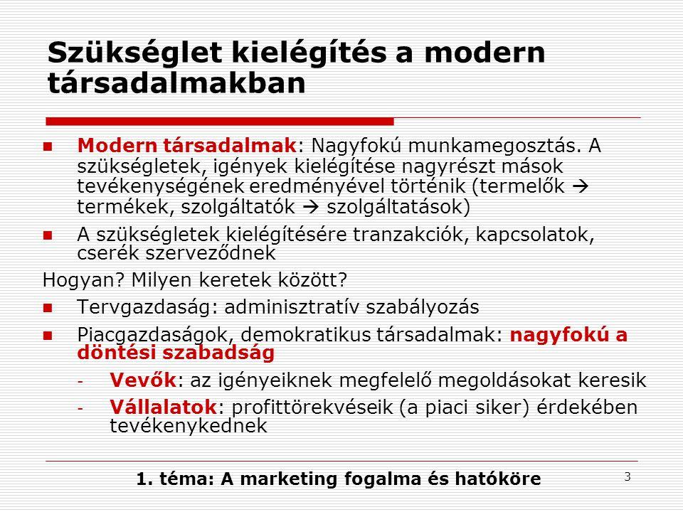 2 A tanulás célja - főbb témakörök 1.A marketing fogalma és hatóköre 2.A modern marketingkoncepció gyakorlati megvalósítása - a piacorientáció kettős jellege 3.A marketing mint szervezeti kultúra 4.A marketing mint szervezeti funkció - a marketing menedzsment folyamata 5.Összefoglalás