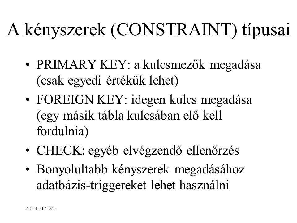 2014. 07. 23. Kulcs megadása