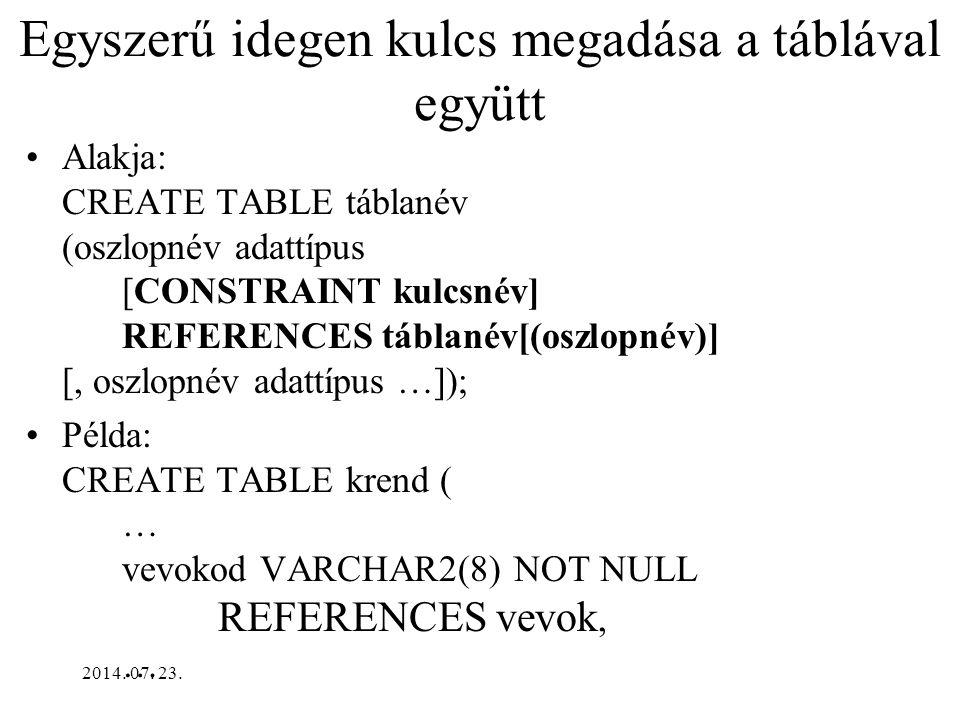2014. 07. 23. Index törlése Formája: DROP INDEX indexnév; Példa: DROP INDEX hallg_nevsor_idx;
