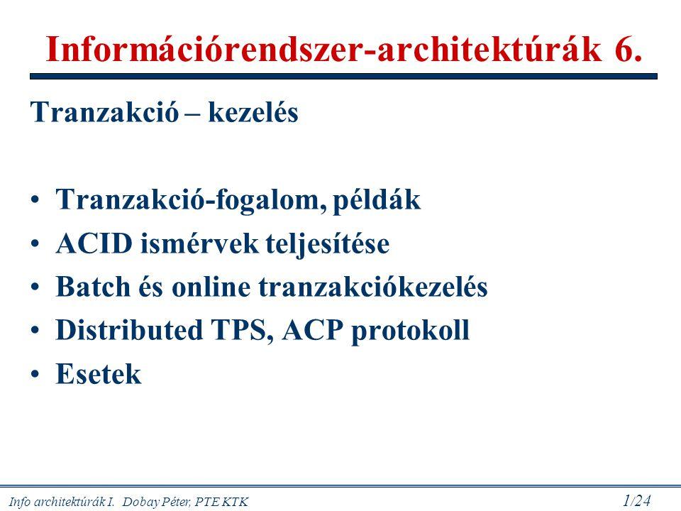Info architektúrák I. Dobay Péter, PTE KTK 1 / 24 Információrendszer-architektúrák 6. Tranzakció – kezelés Tranzakció-fogalom, példák ACID ismérvek te