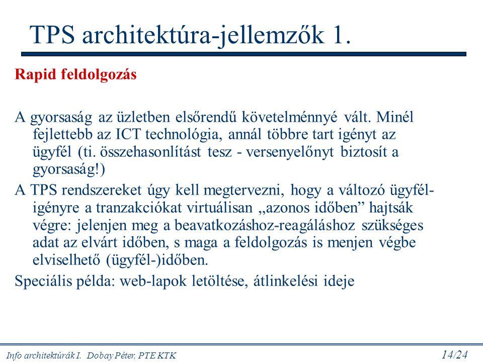 Info architektúrák I. Dobay Péter, PTE KTK 14 / 24 TPS architektúra-jellemzők 1. Rapid feldolgozás A gyorsaság az üzletben elsőrendű követelménnyé vál