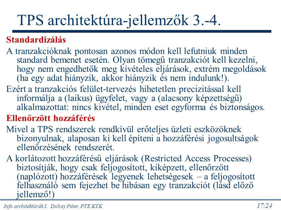 Info architektúrák I. Dobay Péter, PTE KTK 17 / 24 Standardizálás A tranzakcióknak pontosan azonos módon kell lefutniuk minden standard bemenet esetén
