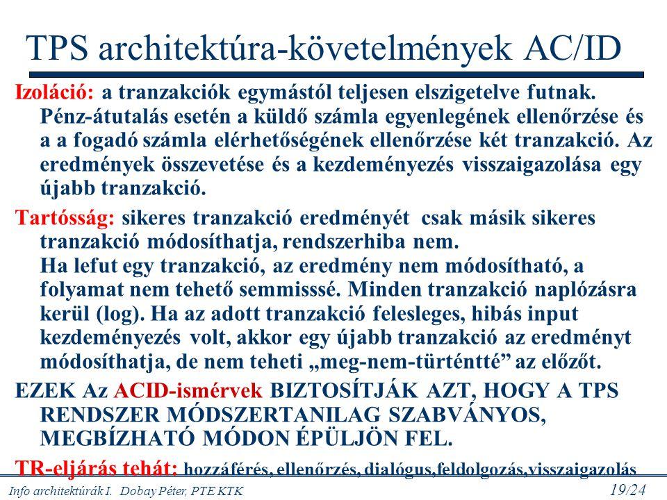 Info architektúrák I. Dobay Péter, PTE KTK 19 / 24 Izoláció: a tranzakciók egymástól teljesen elszigetelve futnak. Pénz-átutalás esetén a küldő számla