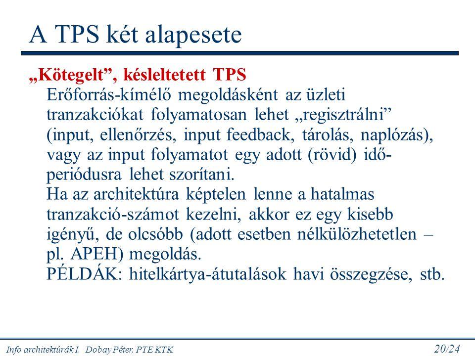 """Info architektúrák I. Dobay Péter, PTE KTK 20 / 24 A TPS két alapesete """"Kötegelt"""", késleltetett TPS Erőforrás-kímélő megoldásként az üzleti tranzakció"""