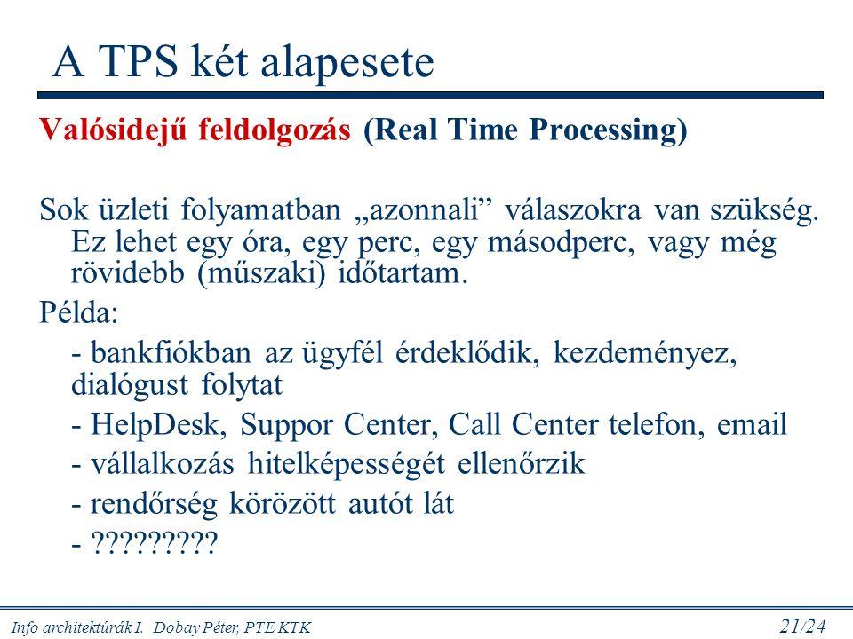 """Info architektúrák I. Dobay Péter, PTE KTK 21 / 24 Valósidejű feldolgozás (Real Time Processing) Sok üzleti folyamatban """"azonnali"""" válaszokra van szük"""