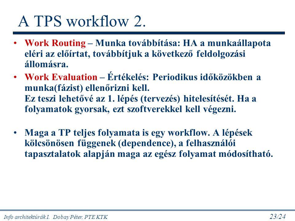 Info architektúrák I. Dobay Péter, PTE KTK 23 / 24 Work Routing – Munka továbbítása: HA a munkaállapota eléri az előírtat, továbbítjuk a következő fel