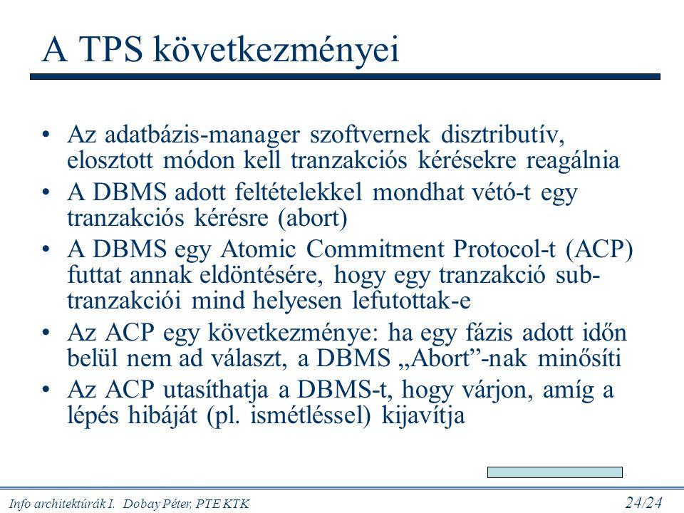 Info architektúrák I. Dobay Péter, PTE KTK 24 / 24 A TPS következményei Az adatbázis-manager szoftvernek disztributív, elosztott módon kell tranzakció