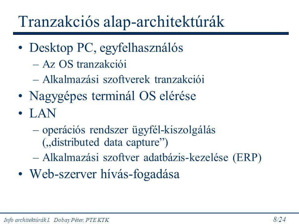 Info architektúrák I. Dobay Péter, PTE KTK 8 / 24 Tranzakciós alap-architektúrák Desktop PC, egyfelhasználós –Az OS tranzakciói –Alkalmazási szoftvere