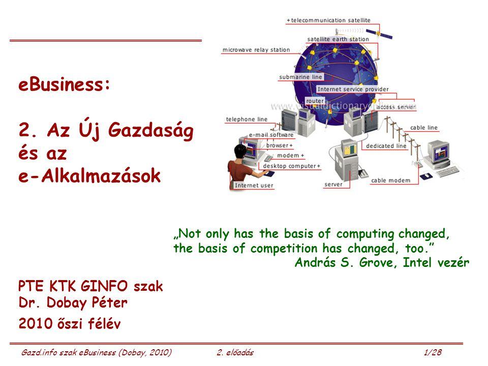 Gazd.info szak eBusiness (Dobay, 2010)2. előadás 1/28 eBusiness: 2.