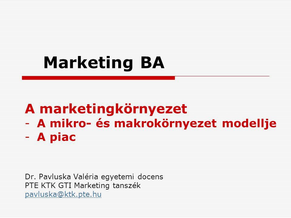 Marketing BA A marketingkörnyezet -A mikro- és makrokörnyezet modellje -A piac Dr. Pavluska Valéria egyetemi docens PTE KTK GTI Marketing tanszék pavl