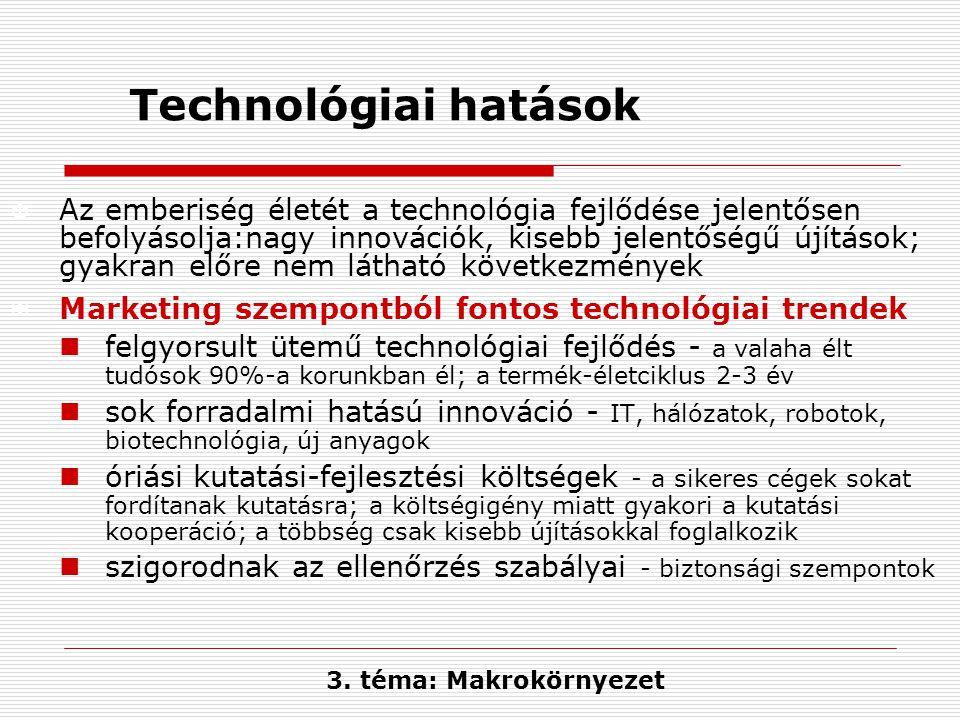 Technológiai hatások X Az emberiség életét a technológia fejlődése jelentősen befolyásolja:nagy innovációk, kisebb jelentőségű újítások; gyakran előre