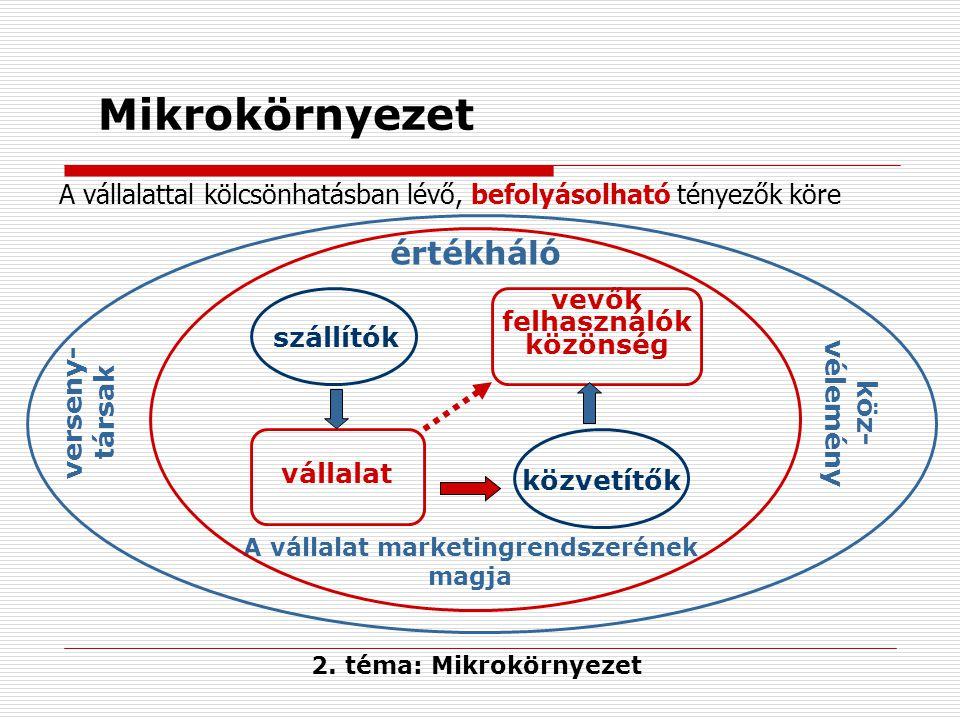 Mikrokörnyezet verseny- társak köz- vélemény szállítók vállalat közvetítők vevők felhasználók közönség A vállalat marketingrendszerének magja A vállal