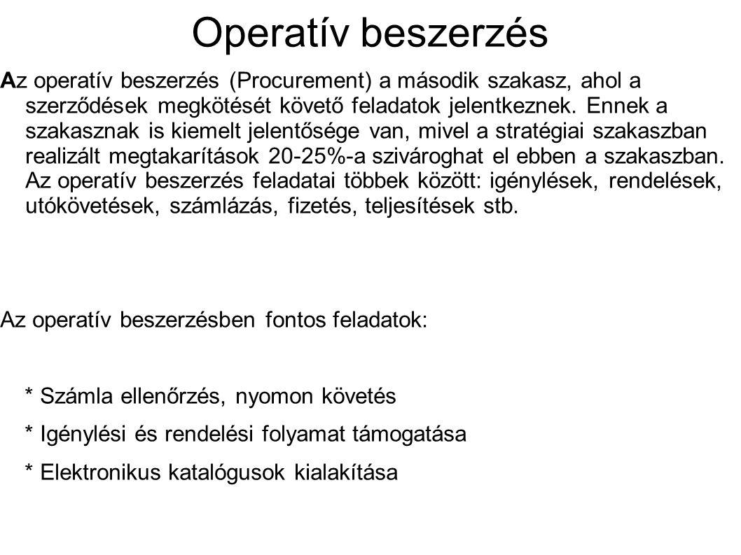Operatív beszerzés Az operatív beszerzés (Procurement) a második szakasz, ahol a szerződések megkötését követő feladatok jelentkeznek. Ennek a szakasz
