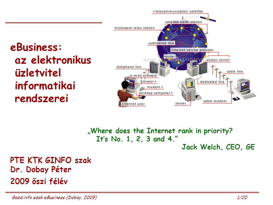 Gazd.info szak eBusiness (Dobay, 2009) 12/20 Buzzwords Intranet – Extranet - Internet termékek és szolgáltatások online értékesítése elektronikus beszerzés (e-Purchase, e-Supply Chain Mgmt) online banki műveletek tőzsdei tranzakciók e-kereskedelem (e-commerce); e-üzlet (e-business) e-vállalat (e-corporation, e-enterprise) Brochureware, e-bolt (e-store), e-mall, e-auction Brick & Mortar, Brick & Click, Click &Buy (pure-e) business virtuális piactér (virtual marketplace, e-marketplace) elektronikus adatcsere (EDI, Electronic Data Interchange) Real-time interakciók új gazdaság (new economy, networked economy)