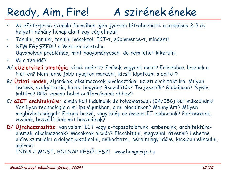 Gazd.info szak eBusiness (Dobay, 2009) 18/20 Ready, Aim, Fire.