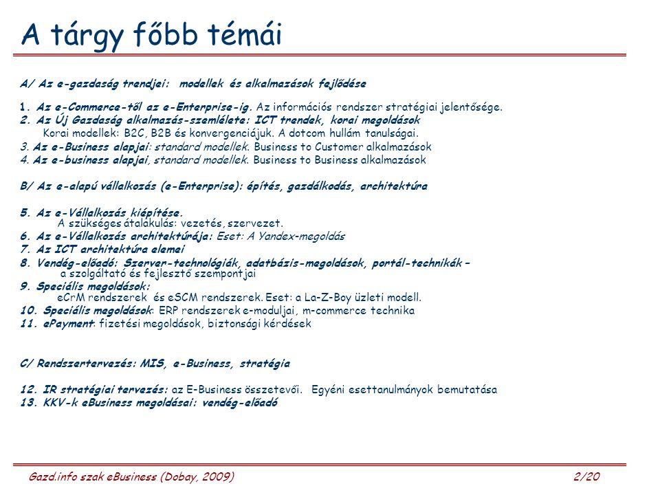 Gazd.info szak eBusiness (Dobay, 2009) 13/20 Miben változott meg a vállalatok viselkedése.