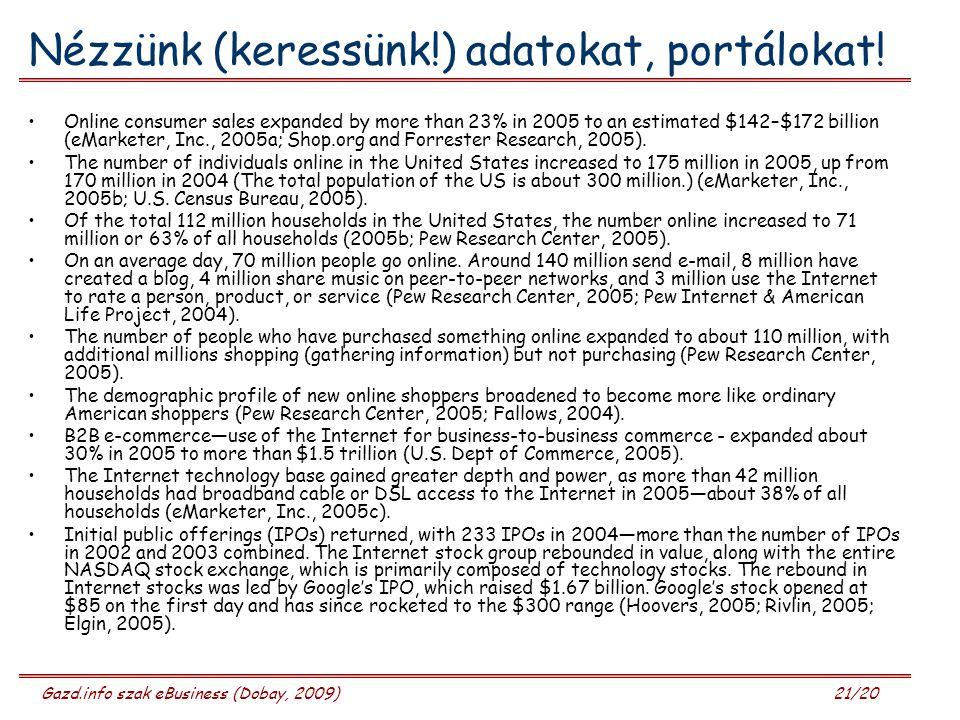 Gazd.info szak eBusiness (Dobay, 2009) 21/20 Nézzünk (keressünk!) adatokat, portálokat.