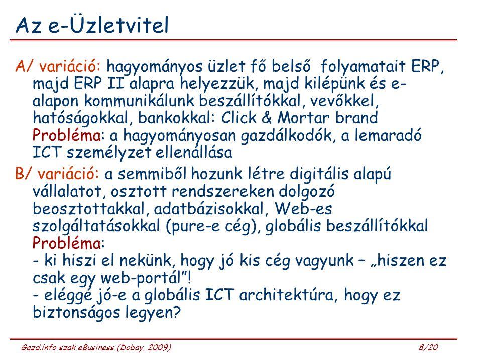 """Gazd.info szak eBusiness (Dobay, 2009) 8/20 Az e-Üzletvitel A/ variáció: hagyományos üzlet fő belső folyamatait ERP, majd ERP II alapra helyezzük, majd kilépünk és e- alapon kommunikálunk beszállítókkal, vevőkkel, hatóságokkal, bankokkal: Click & Mortar brand Probléma: a hagyományosan gazdálkodók, a lemaradó ICT személyzet ellenállása B/ variáció: a semmiből hozunk létre digitális alapú vállalatot, osztott rendszereken dolgozó beosztottakkal, adatbázisokkal, Web-es szolgáltatásokkal (pure-e cég), globális beszállítókkal Probléma: - ki hiszi el nekünk, hogy jó kis cég vagyunk – """"hiszen ez csak egy web-portál ."""