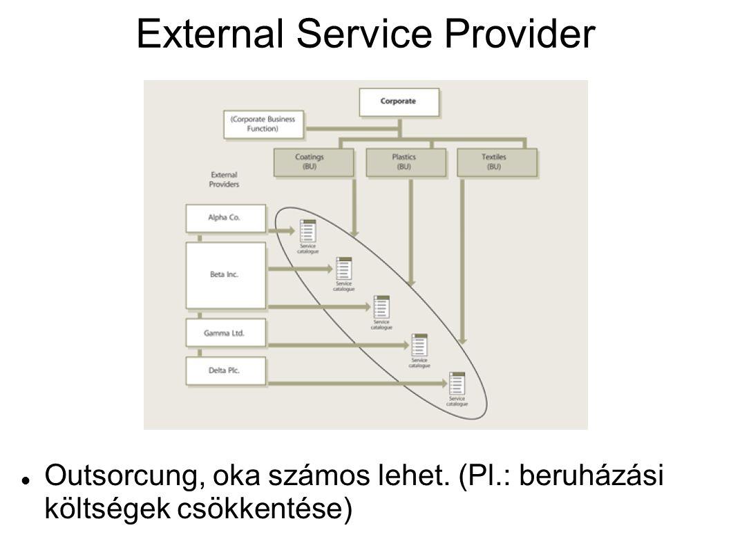 External Service Provider Outsorcung, oka számos lehet. (Pl.: beruházási költségek csökkentése)