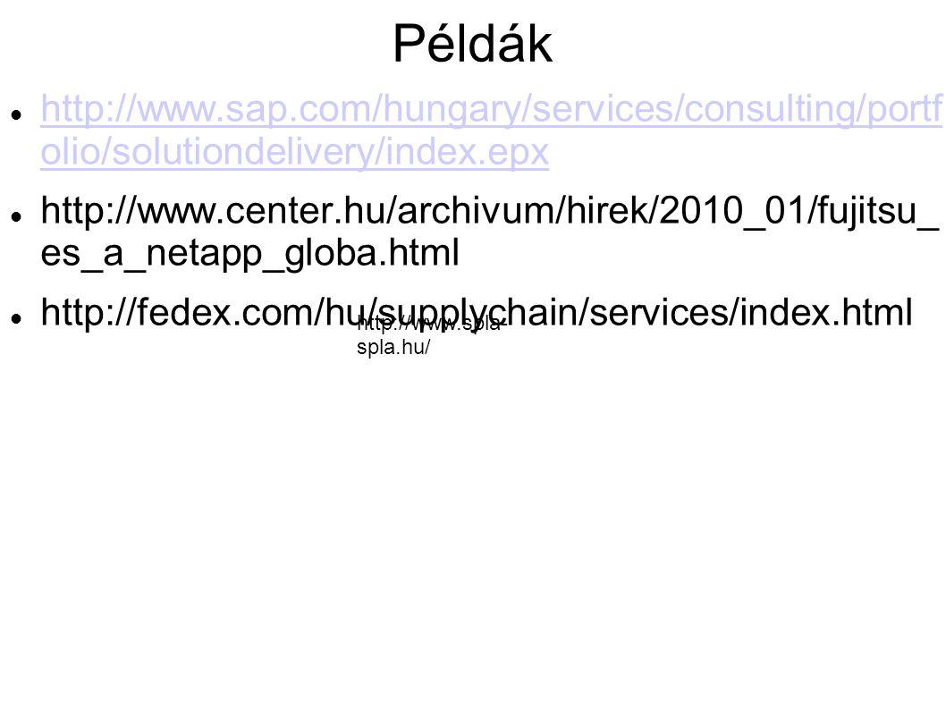 Példák http://www.sap.com/hungary/services/consulting/portf olio/solutiondelivery/index.epx http://www.sap.com/hungary/services/consulting/portf olio/solutiondelivery/index.epx http://www.center.hu/archivum/hirek/2010_01/fujitsu_ es_a_netapp_globa.html http://fedex.com/hu/supplychain/services/index.html http://www.spla- spla.hu/