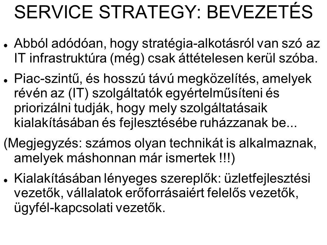 SERVICE STRATEGY: BEVEZETÉS Abból adódóan, hogy stratégia-alkotásról van szó az IT infrastruktúra (még) csak áttételesen kerül szóba. Piac-szintű, és