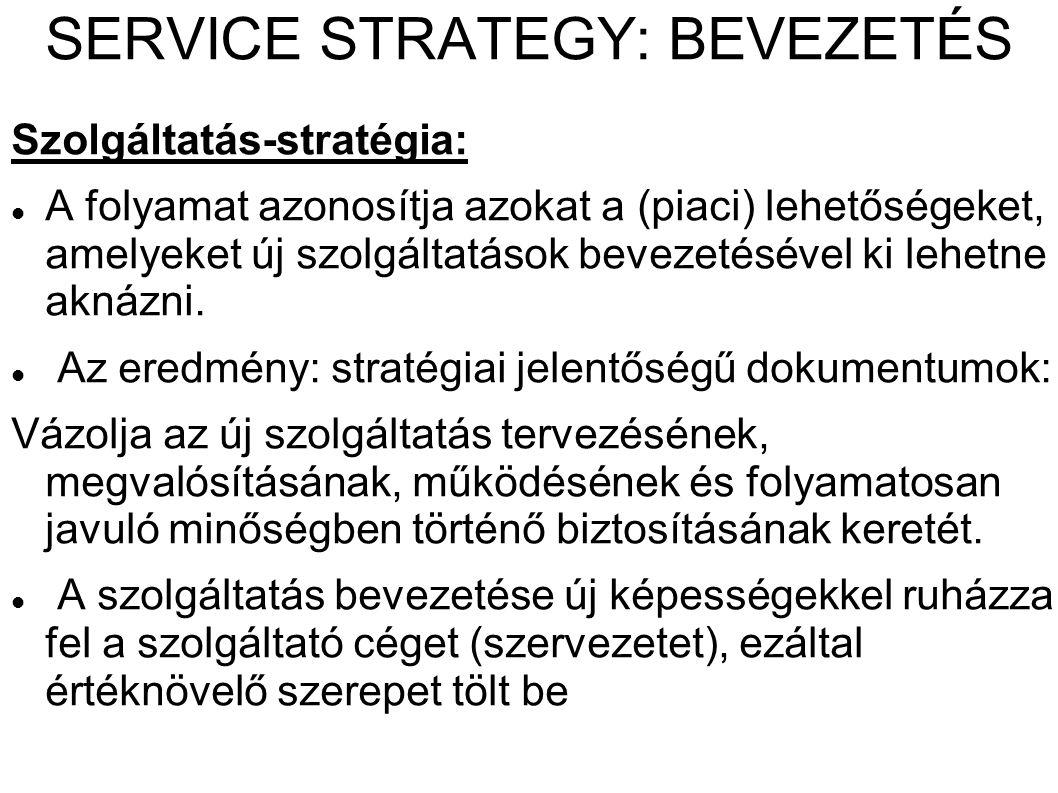 SERVICE STRATEGY: BEVEZETÉS Szolgáltatás-stratégia: A folyamat azonosítja azokat a (piaci) lehetőségeket, amelyeket új szolgáltatások bevezetésével ki