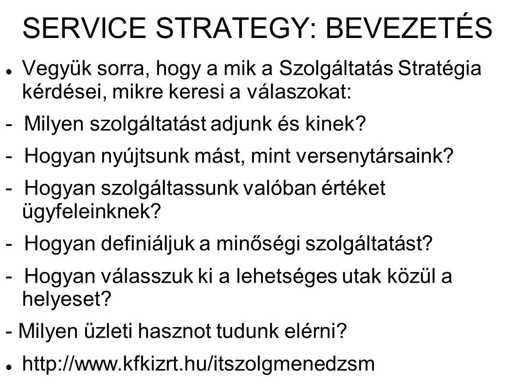 SERVICE STRATEGY: BEVEZETÉS Vegyük sorra, hogy a mik a Szolgáltatás Stratégia kérdései, mikre keresi a válaszokat: - Milyen szolgáltatást adjunk és ki