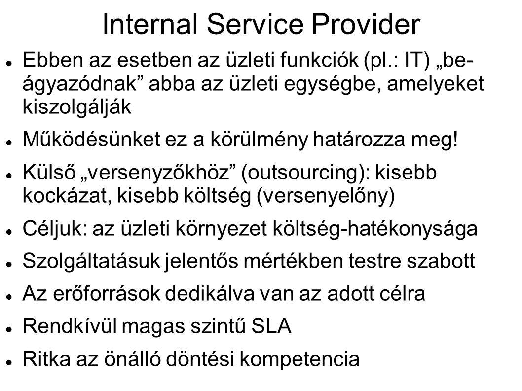 """Internal Service Provider Ebben az esetben az üzleti funkciók (pl.: IT) """"be- ágyazódnak"""" abba az üzleti egységbe, amelyeket kiszolgálják Működésünket"""