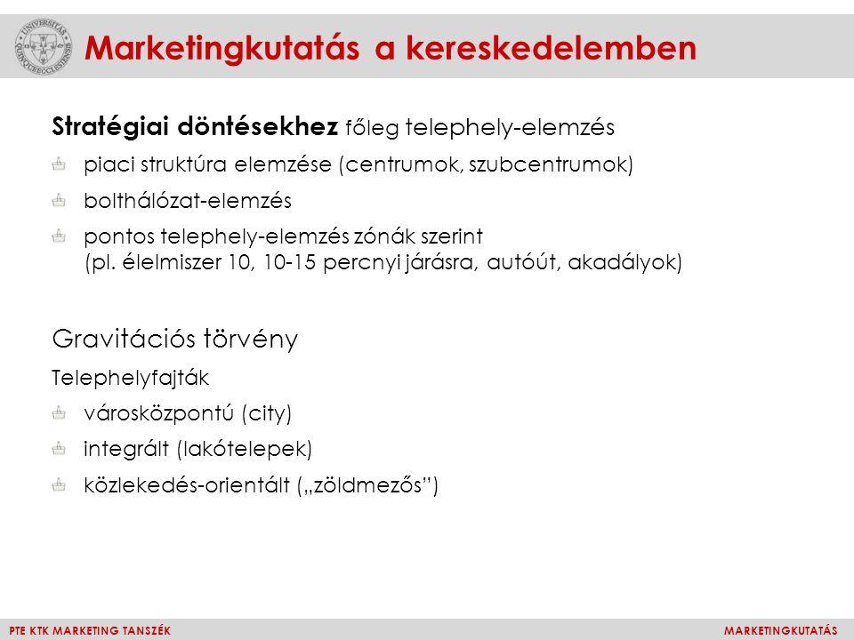 PTE KTK MARKETING TANSZÉKMARKETINGKUTATÁS Marketingkutatás a kereskedelemben Stratégiai döntésekhez főleg telephely-elemzés piaci struktúra elemzése (