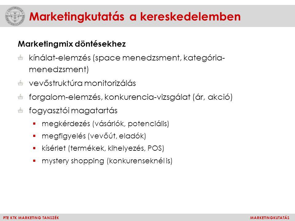PTE KTK MARKETING TANSZÉKMARKETINGKUTATÁS Marketingkutatás a kereskedelemben Marketingmix döntésekhez kínálat-elemzés (space menedzsment, kategória- m
