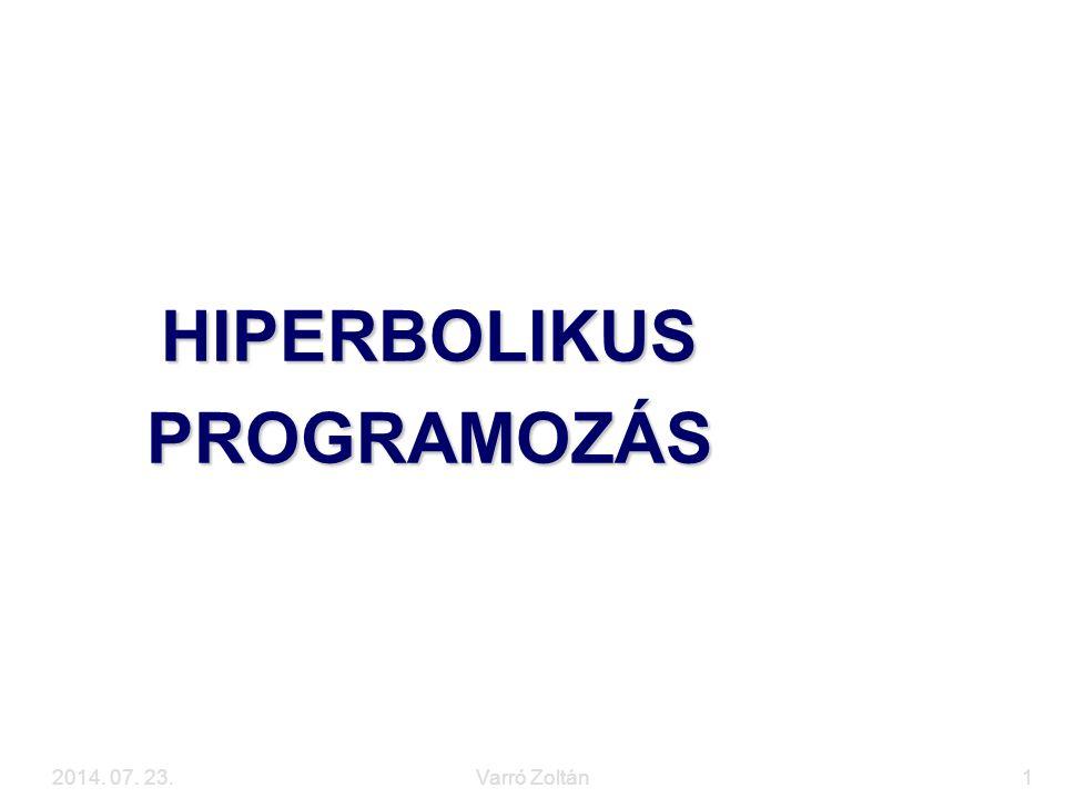 2014. 07. 23.Varró Zoltán1 HIPERBOLIKUS PROGRAMOZÁS