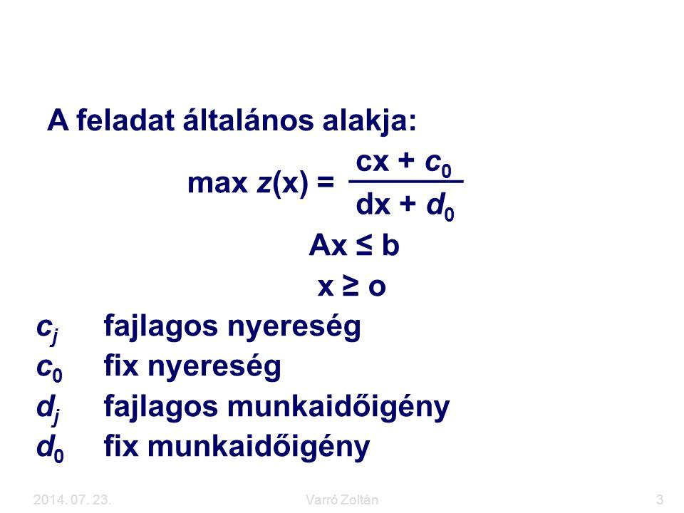 2014. 07. 23.Varró Zoltán3 A hiperbolikus feladat max z(x) = cx + c 0 dx + d 0 Ax ≤ b x ≥ o c j fajlagos nyereség c 0 fix nyereség d j fajlagos munkai