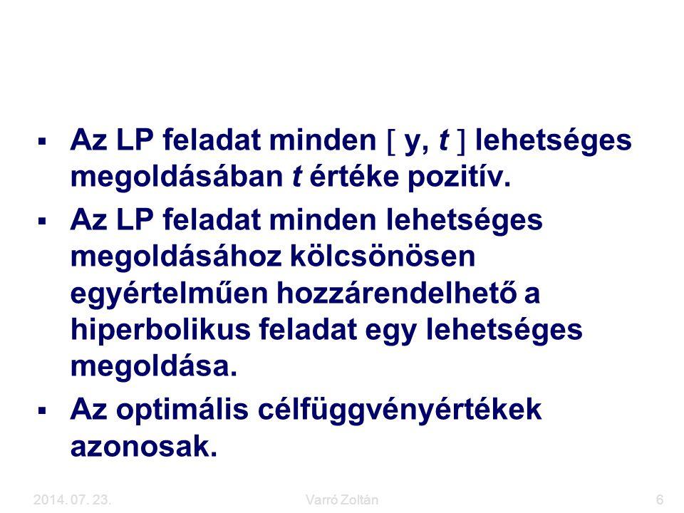 2014. 07. 23.Varró Zoltán6 Visszavezetés LP feladatra  Az LP feladat minden  y, t  lehetséges megoldásában t értéke pozitív.  Az LP feladat minden