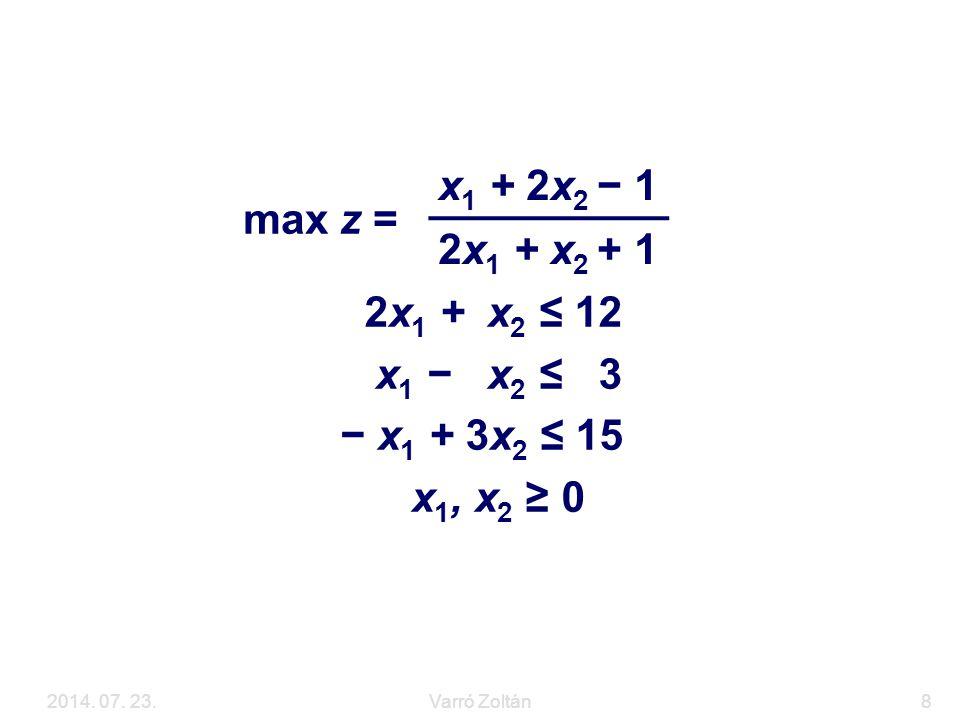 2014. 07. 23.Varró Zoltán8 Példa 2x 1 + x 2 ≤ 12 x 1 − x 2 ≤ 3 − x 1 + 3x 2 ≤ 15 x 1, x 2 ≥ 0 max z = x 1 + 2x 2 − 1 2x 1 + x 2 + 1