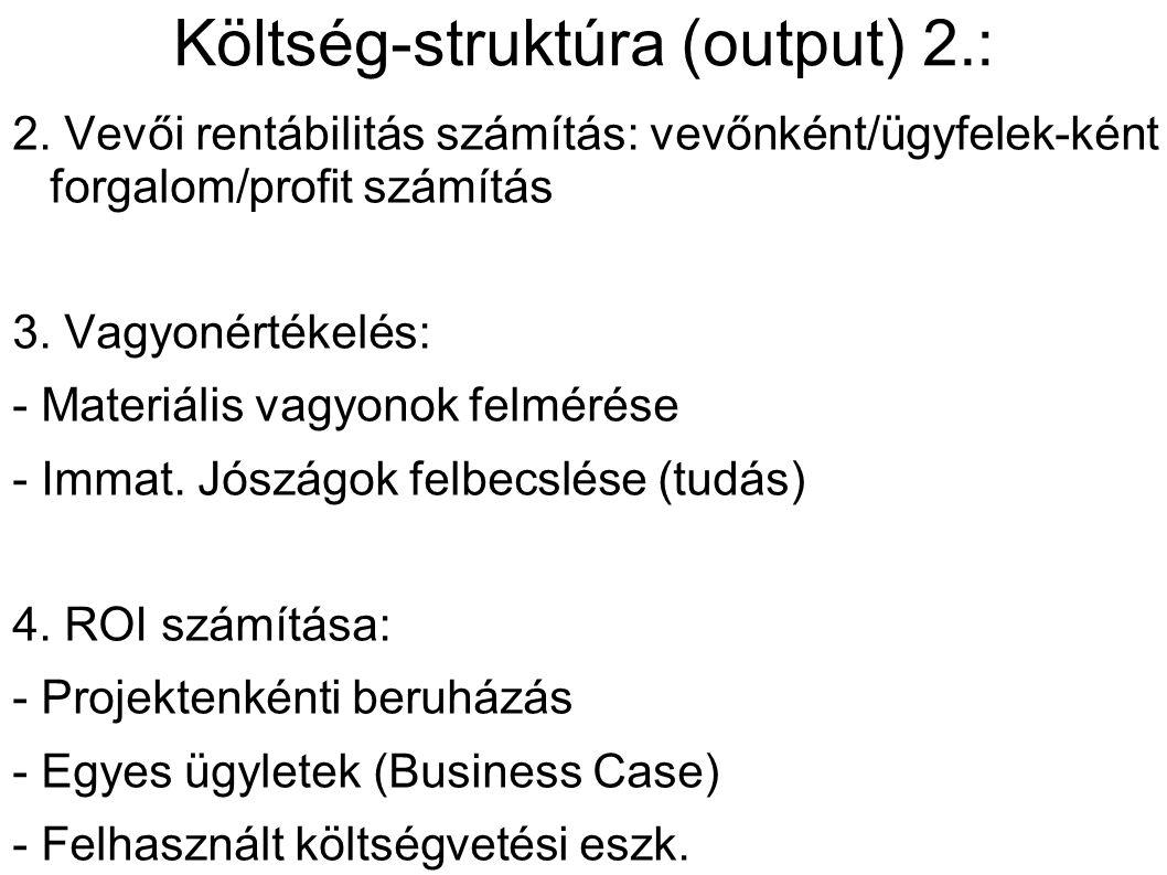 Költség-struktúra (output) 2.: 2.