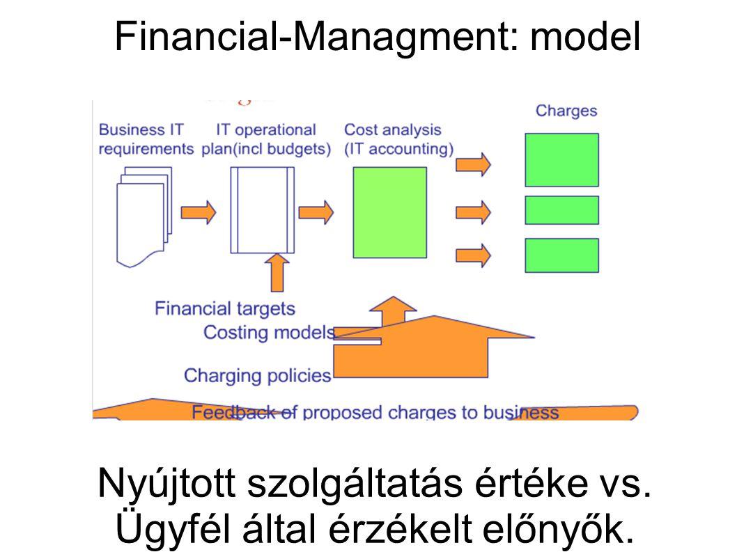 Financial-Managment: model Nyújtott szolgáltatás értéke vs. Ügyfél által érzékelt előnyők.