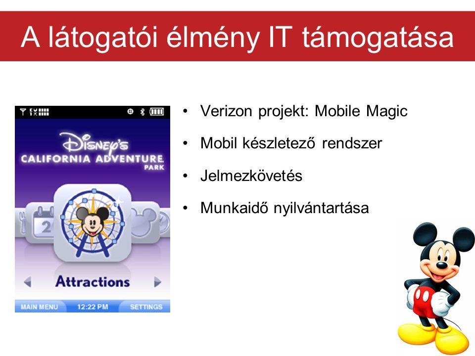 A látogatói élmény IT támogatása Verizon projekt: Mobile Magic Mobil készletező rendszer Jelmezkövetés Munkaidő nyilvántartása