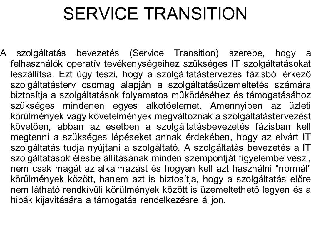 SERVICE TRANSITION A szolgáltatás bevezetés (Service Transition) szerepe, hogy a felhasználók operatív tevékenységeihez szükséges IT szolgáltatásokat leszállítsa.