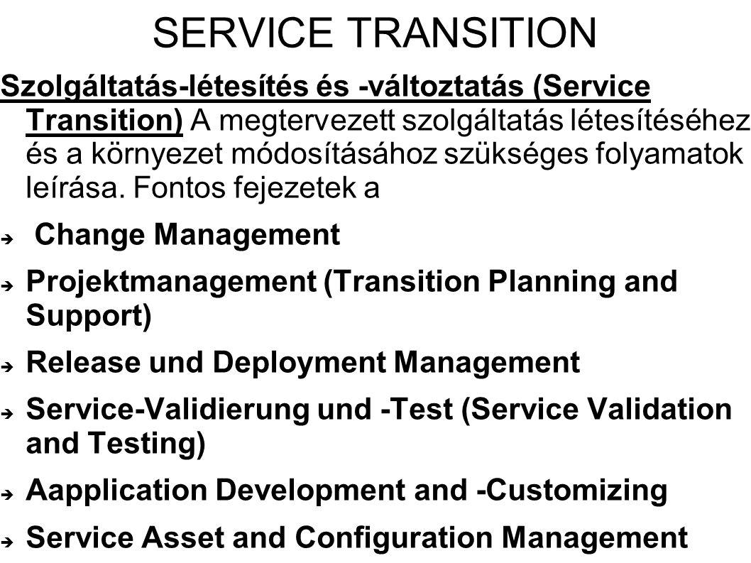 SERVICE TRANSITION Szolgáltatás-létesítés és -változtatás (Service Transition) A megtervezett szolgáltatás létesítéséhez és a környezet módosításához szükséges folyamatok leírása.