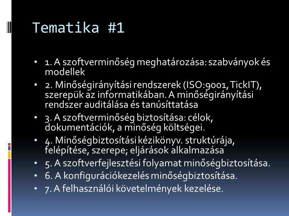 Tematika #1 1. A szoftverminőség meghatározása: szabványok és modellek 2. Minőségirányítási rendszerek (ISO:9001, TickIT), szerepük az informatikában.