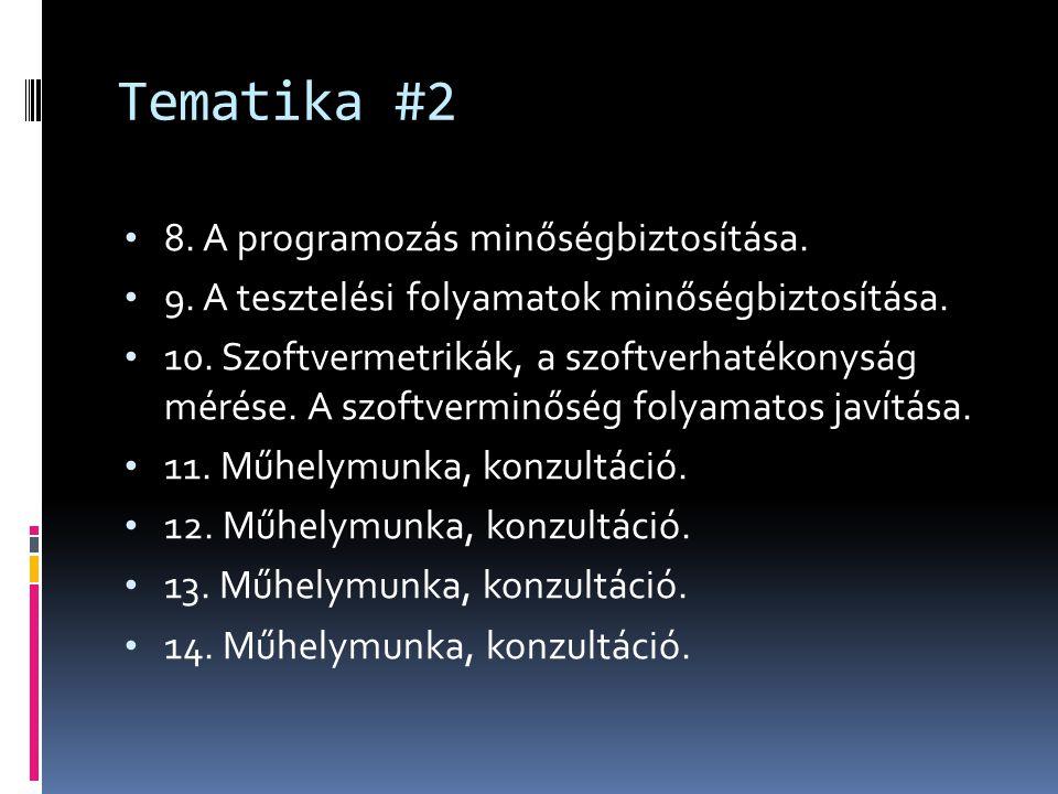 Tematika #2 8. A programozás minőségbiztosítása. 9. A tesztelési folyamatok minőségbiztosítása. 10. Szoftvermetrikák, a szoftverhatékonyság mérése. A