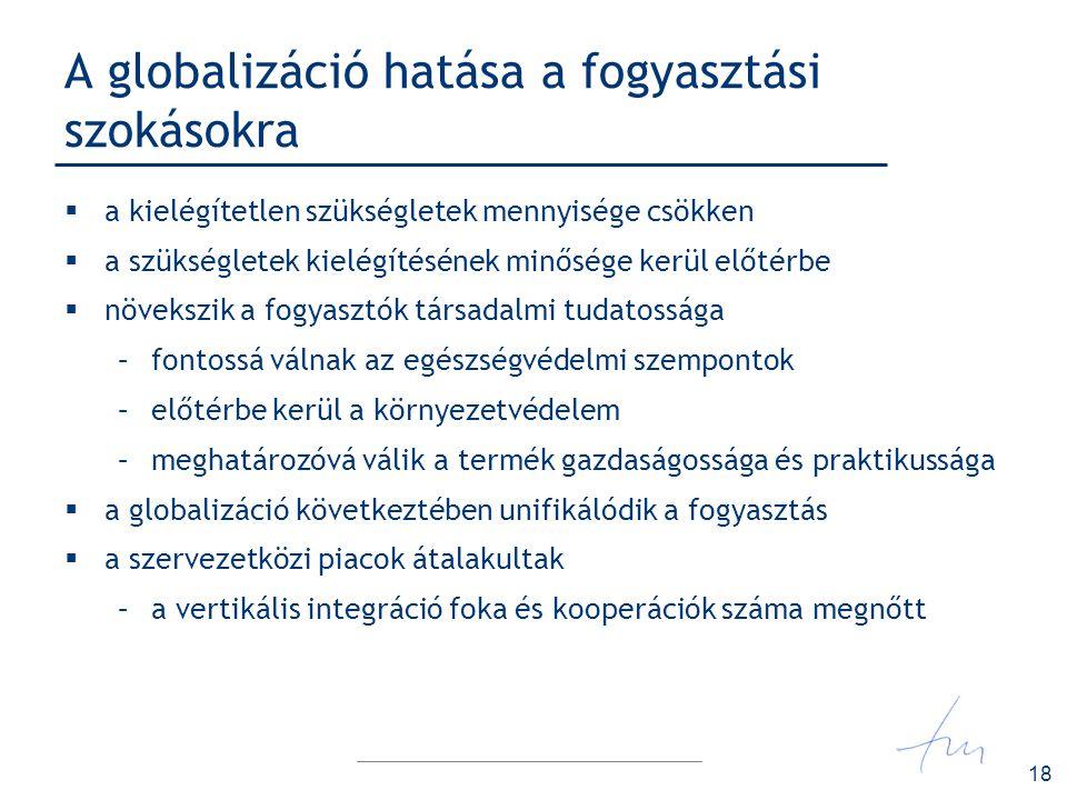 18 A globalizáció hatása a fogyasztási szokásokra  a kielégítetlen szükségletek mennyisége csökken  a szükségletek kielégítésének minősége kerül elő